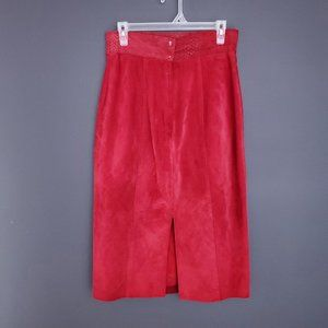 Vintage DANIER Suede Leather Skirt Bright Red Midi